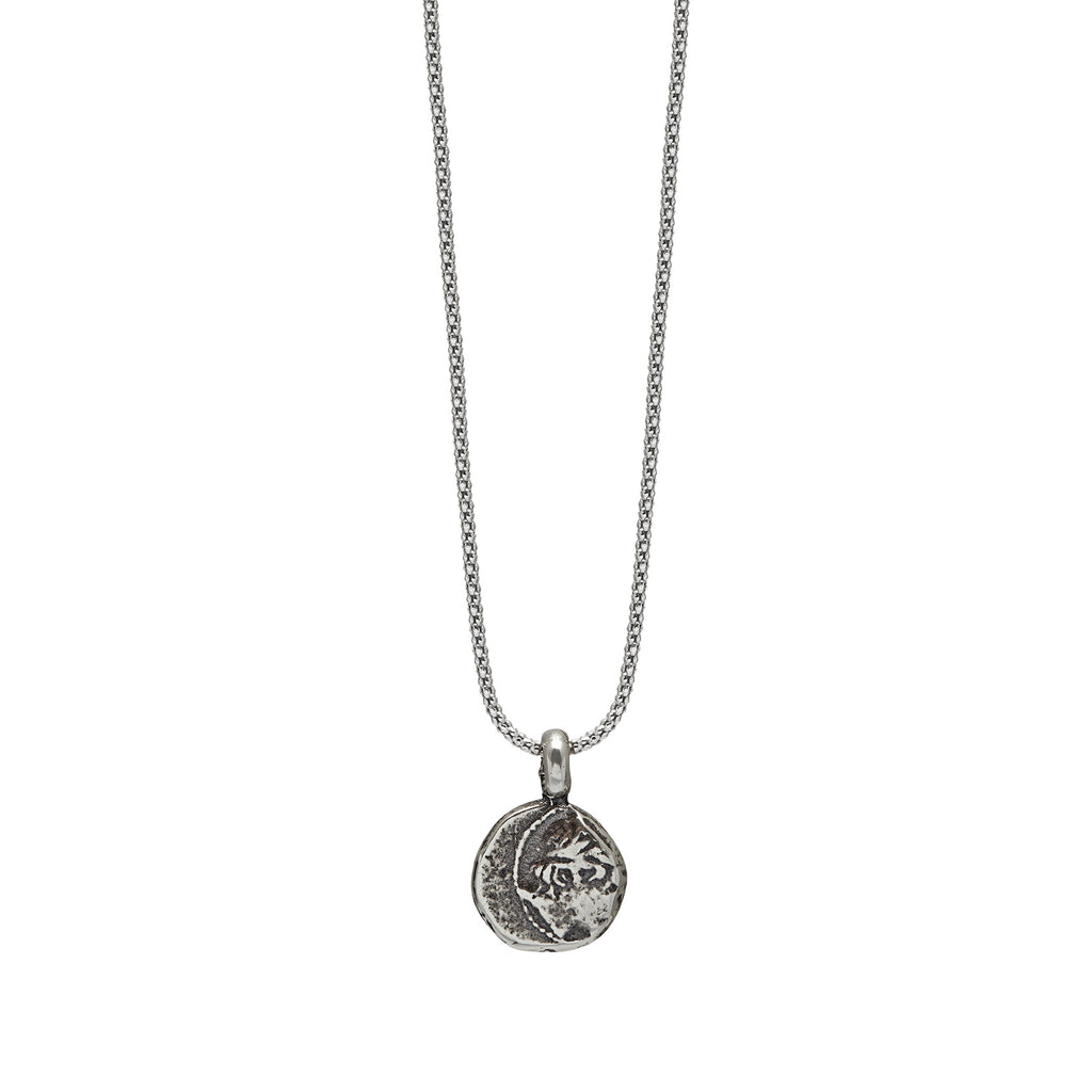Apollo Necklace in Rhodian plated silver Chain Front
