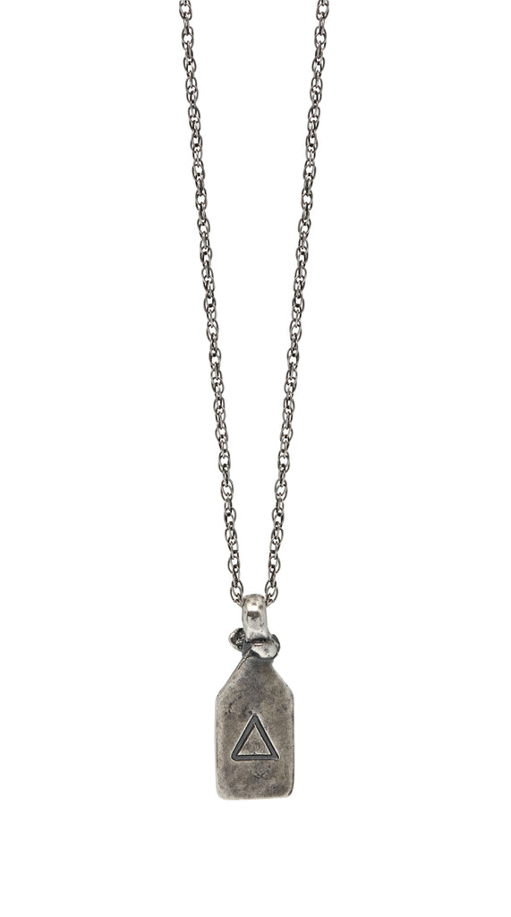 Lotus Amulet Necklace in Oxidised Silver