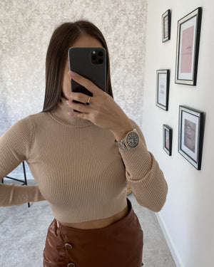 Pull col roulé beige SINA