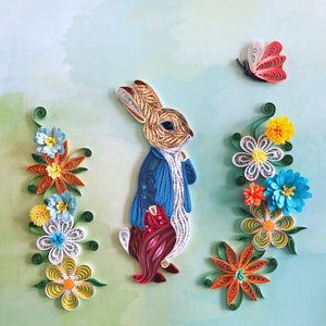 Nursery Decor Rabbit with Flowers