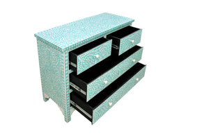 Bone Inlay Chest of Drawers - Floral Aqua