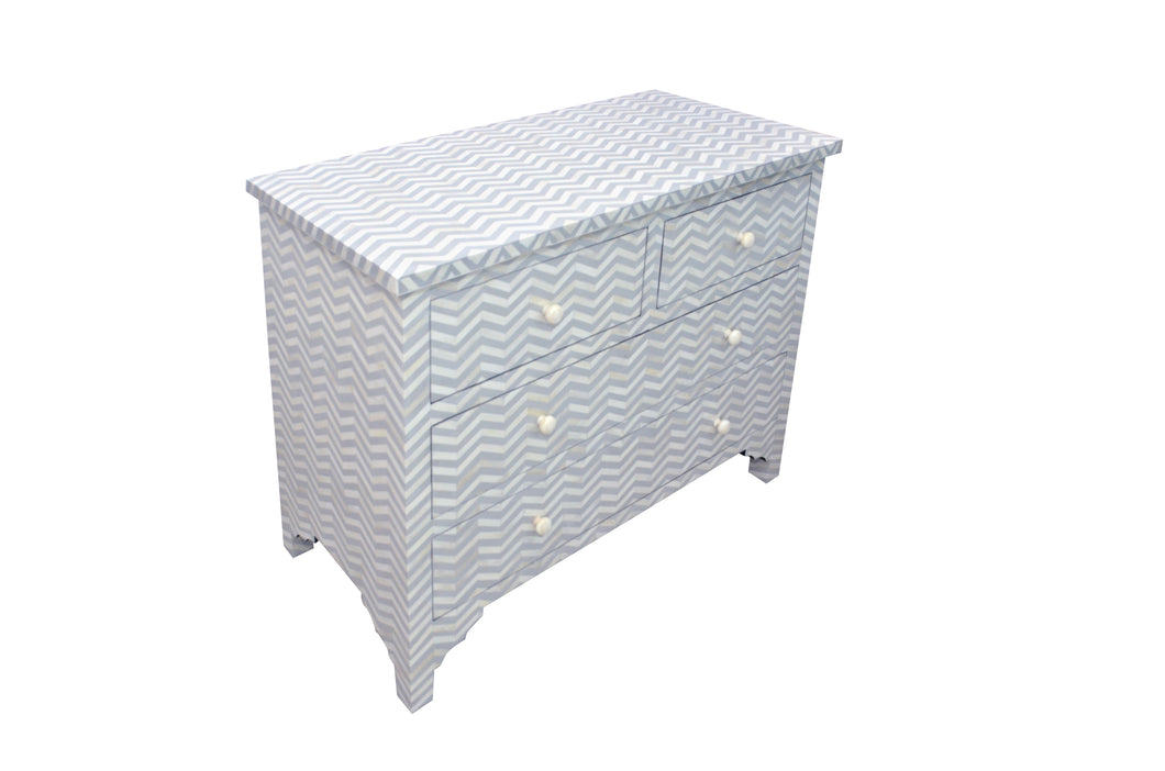 Bone Inlay Chest of Drawers - Chevron Light Grey
