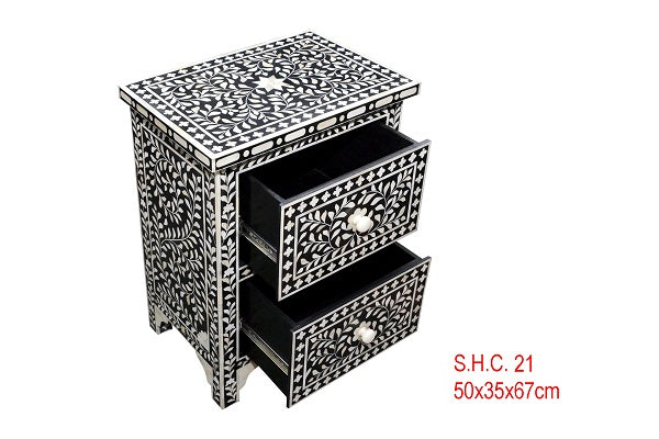 Bone Inlay Bedside Table - Floral Black