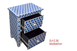 Bone Inlay Bedside Table - Hexagon Blue