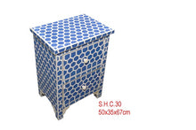 Load image into Gallery viewer, Bone Inlay Bedside Table - Hexagon Blue