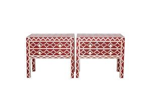 Bone Inlay Bedside Table - Red
