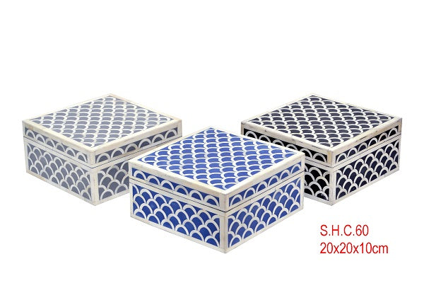 Bone Inlay Box 20 x 20cm - Fan Blue, Black, Grey