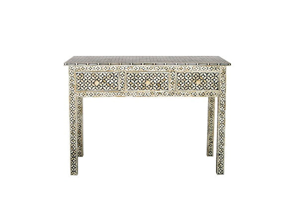 Bone Inlay Console Table - Geo Dark Grey
