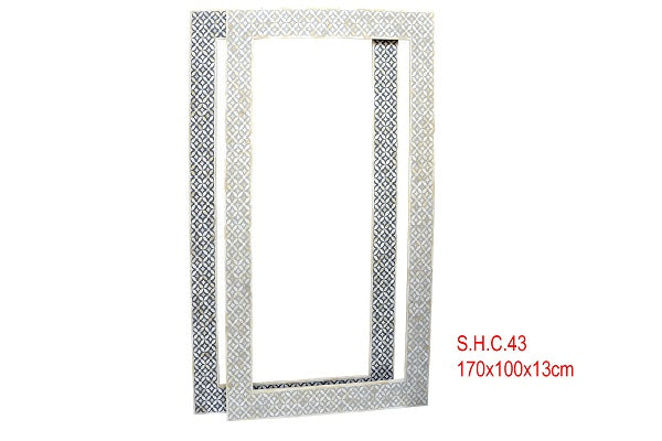 Bone Inlay Full Length Mirror - Floral Light Grey