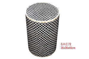 Bone Inlay Stool - Fan Black