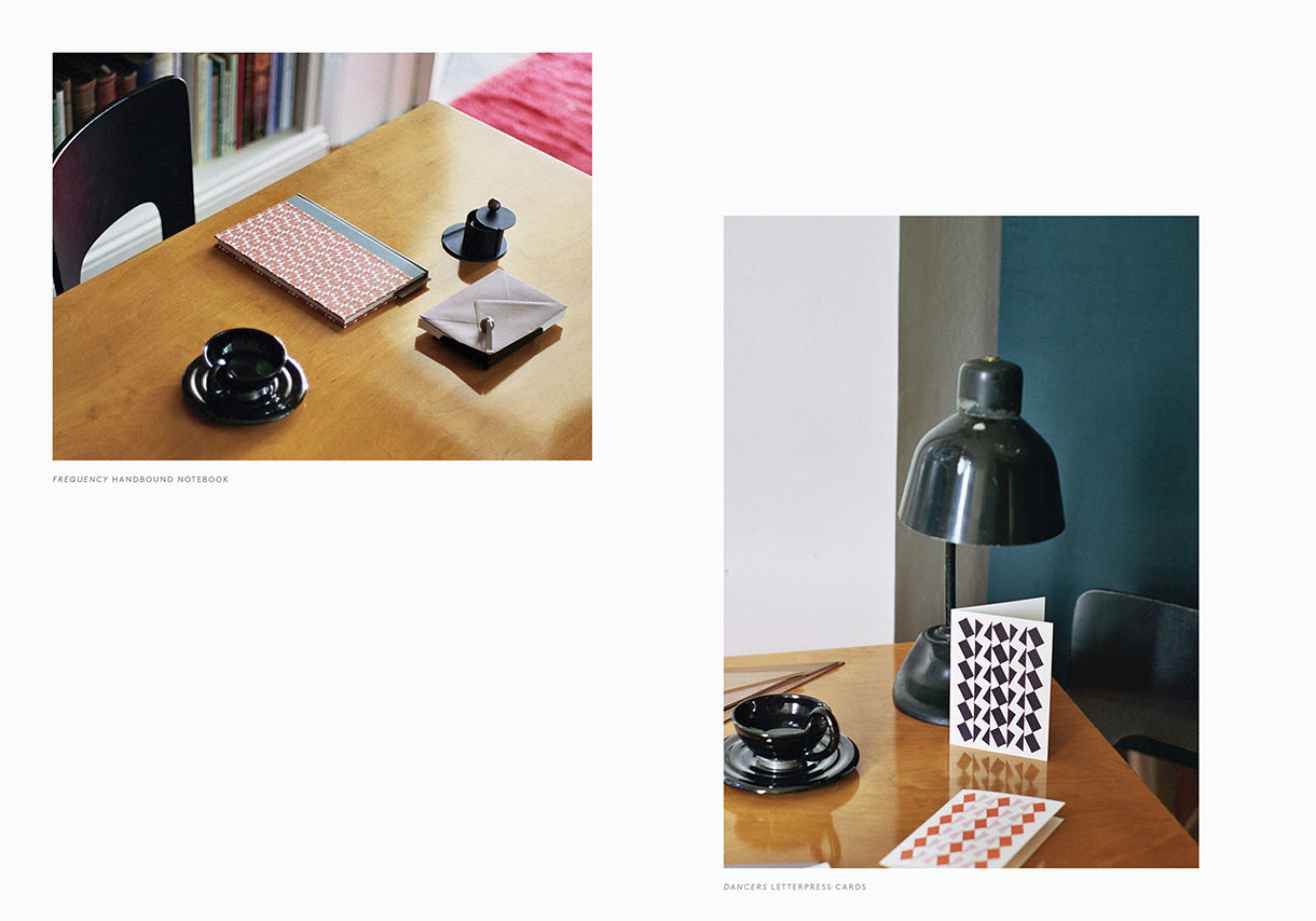 Esme Winter Lookbook, Alvar Aalto Desk, Geometric Greetings Cards and Hand Bound Notebooks