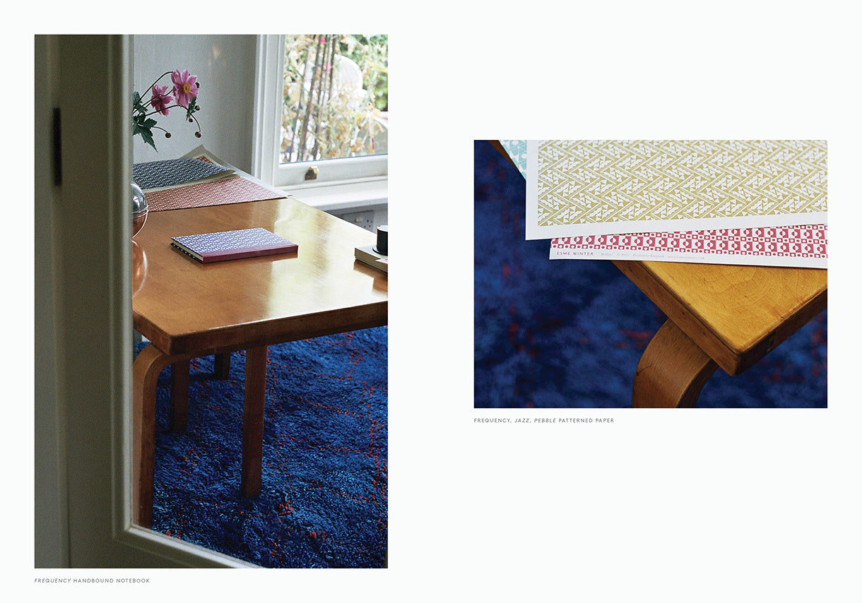 Esme Winter Lookbook, Alvar Aalto Desk, Pattern Papers and Hand Bound Notebooks