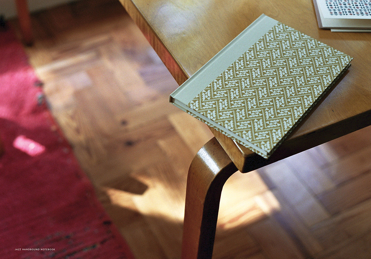 Esme Winter Lookbook, Alvar Aalto Desk, Hand Bound Notebooks