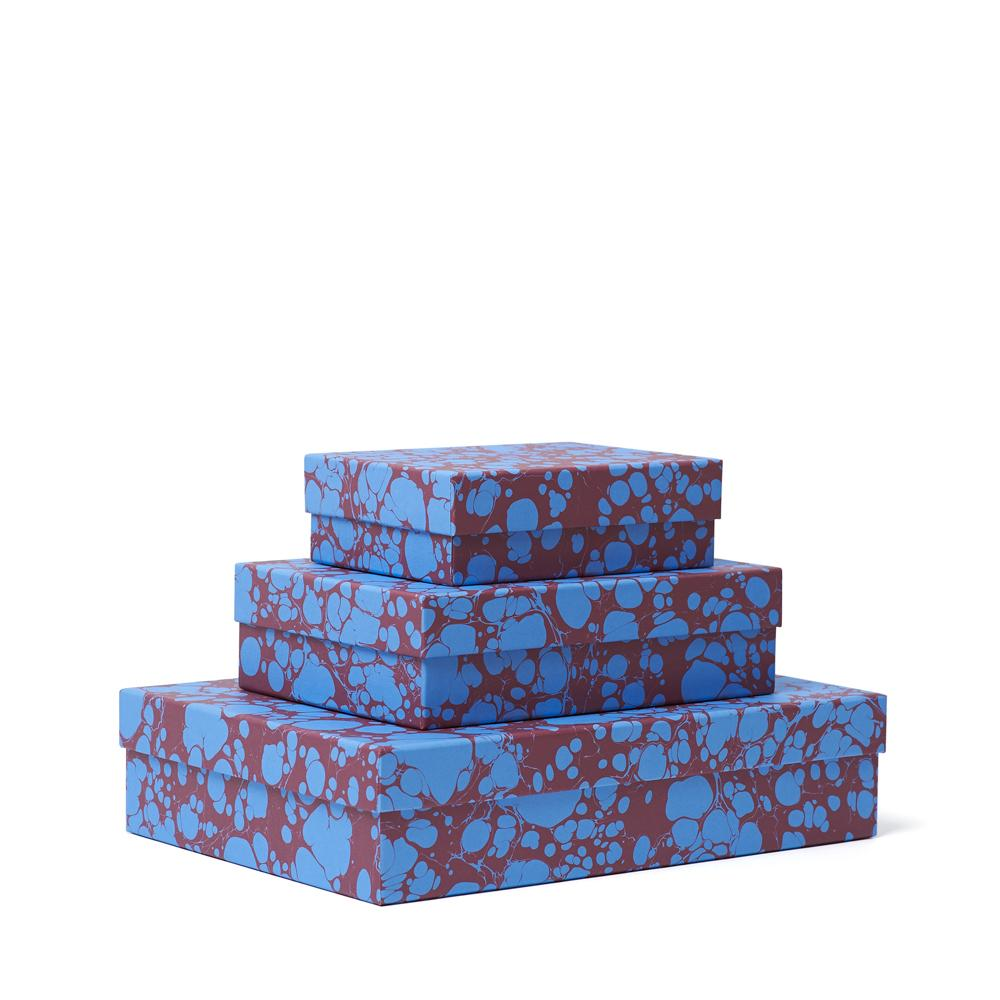 TURKISH SPOT Decorative Box<br>Maroon / Bright Blue - Esme Winter