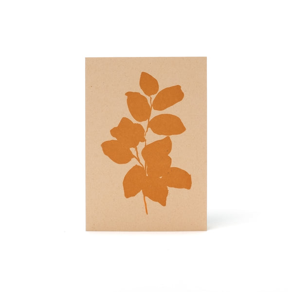 Leaves Letterpress Card <br>Orange