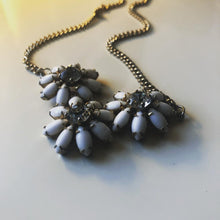 Load image into Gallery viewer, Rhinestone & milk glass flower necklace