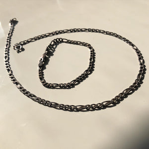 Figaro Chain + Bracelet Set