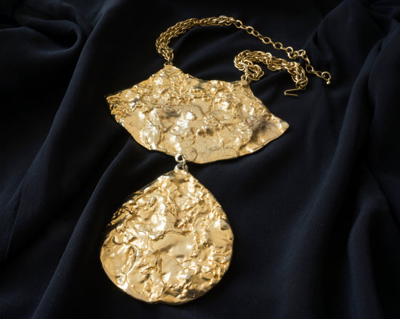 Hammered Gold Statement Necklace by Pauline Rader (late 1960s - early 1970s)