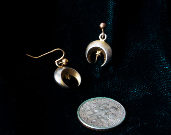 Victorian Moon + Star Earrings (1870s - 1900s)