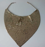 Whiting & Davis Gold Bib Necklace (1970s)
