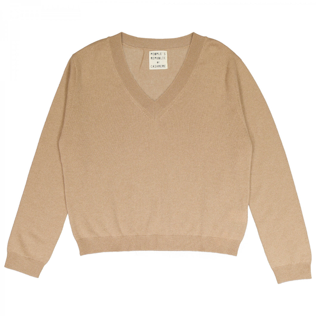 People's Republic Of Cashmere Womens Boxy V Neck - Camel