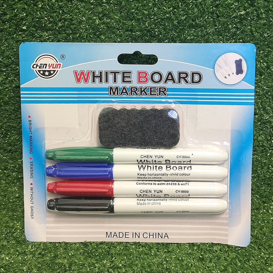 White board markers and eraser