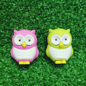 Owl erasers - set of 2 (pink and lime green)