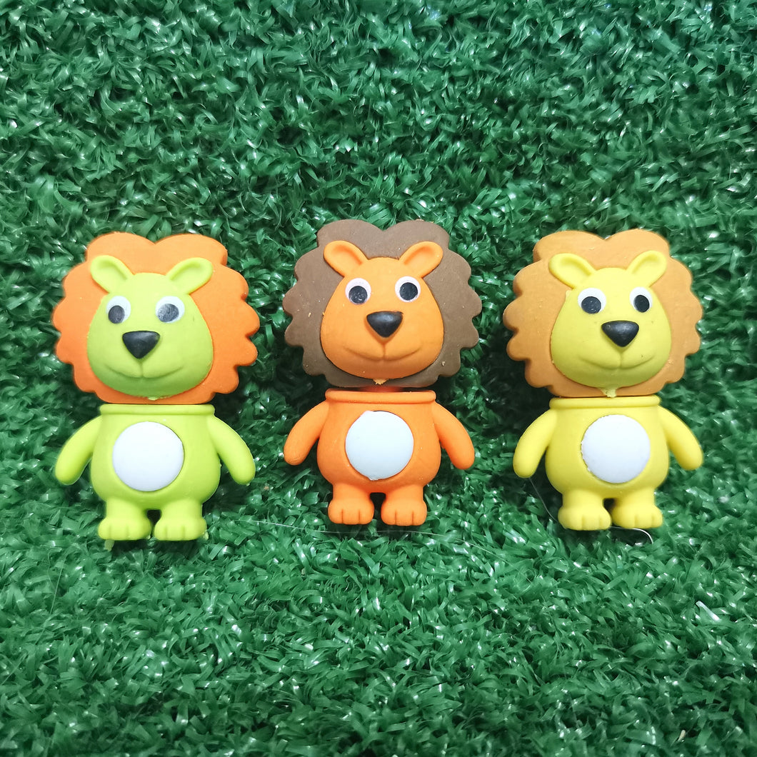 Lion erasers - pack of 3