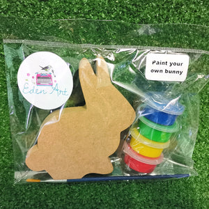 Wooden bunny and paints set