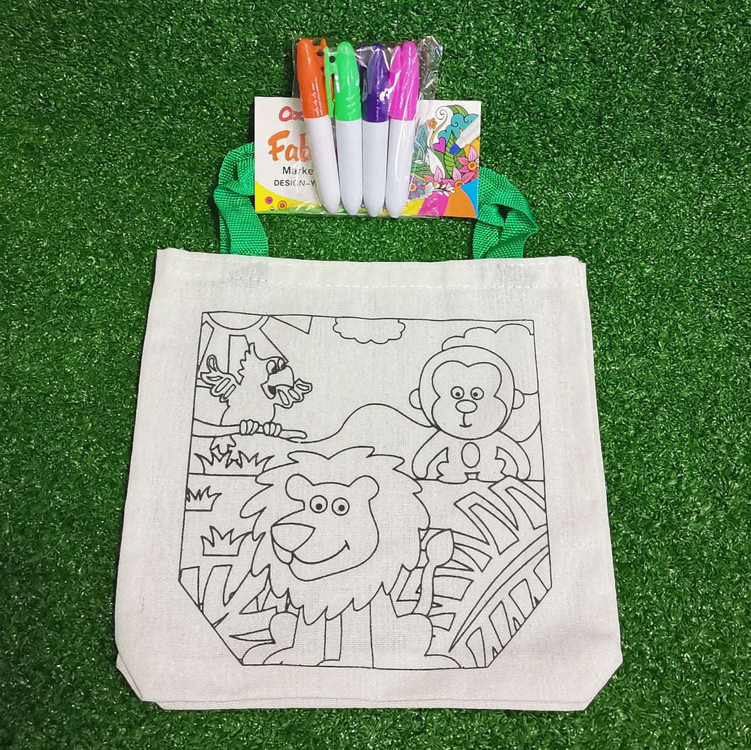 Colour in your own canvas bag - lion