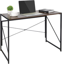 Load image into Gallery viewer, ECVV Folding Space-Saving Desk for Writing, Modern Home Office Desk Compact Home Work Study Table Computer Laptop Table, Brown Desktop and Black Frame,Easy Install