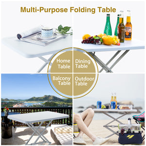 ECVV Folding Table Portable Camping Foldable Desk Multi-Function Home Sofa Bed Side Table with 4 Adjustable Heights-Rectangle Easy to Install