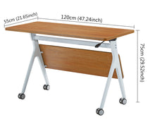 Load image into Gallery viewer, ECVV Office Foldable Desk 1.2M Heavy Duty Flipper Table with Casters for Home Work, Study, Conference Training