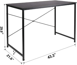 ECVV Folding Space-Saving Desk for Writing, Modern Home Office Desk Compact Home Work Study Table Computer Laptop Table, Brown Desktop and Black Frame,Easy Install