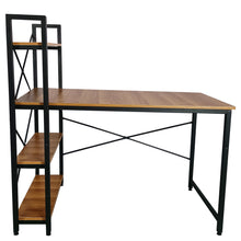 Load image into Gallery viewer, ECVV Computer Desk with 4 Tier Shelves, Work Study Gaming and Writing Table with Storage Bookshelves Modern Wood and Steel Frame Compact Home Studio Workstation