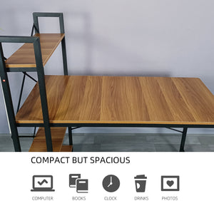 ECVV Computer Desk with 4 Tier Shelves, Work Study Gaming and Writing Table with Storage Bookshelves Modern Wood and Steel Frame Compact Home Studio Workstation
