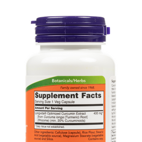 NOW Foods - CurcuBrain™ 400mg Veg Capsules - Nutrition Label