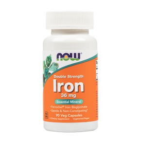 NOW Foods - Iron 36mg Double Strength Veg Capsules - 90 Veg Capsules
