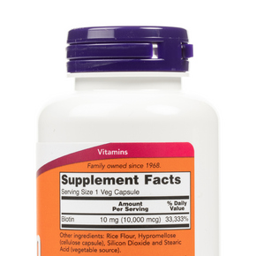 NOW Foods - Biotin 10mg Extra Strength Veg Capsules - Nutrition Label