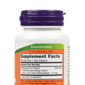 NOW Foods - Ashwagandha 450mg Veg Capsules - Nutrition Label