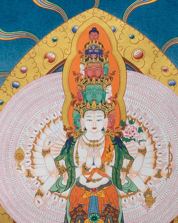 Thousand Armed Avalokiteshvara Painted Thangka