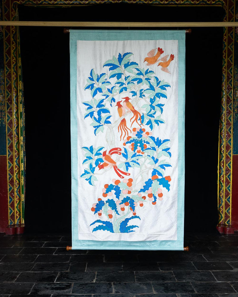 Birds of Shambhala Applique Wall Hanging