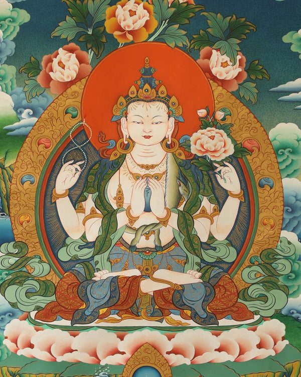 Four Armed Avalokiteshvara Painted Thangka (5ft)