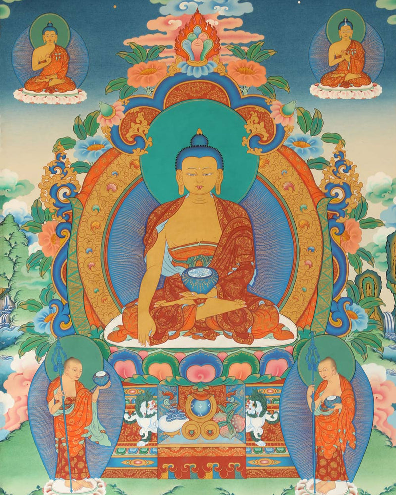 Buddhas of the Past, Present and Future Painted Thangka