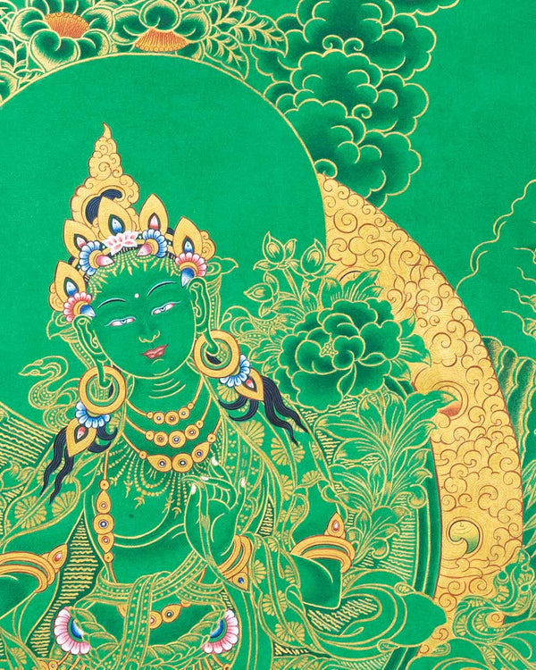 Green Tara (Gold on Green) Painted Thangka