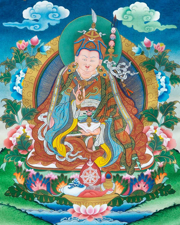 Guru Padmasambhava (colour) Painted Thangka
