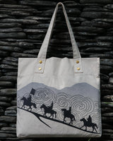 Horse Riders Tote & Pouch Set, Natural