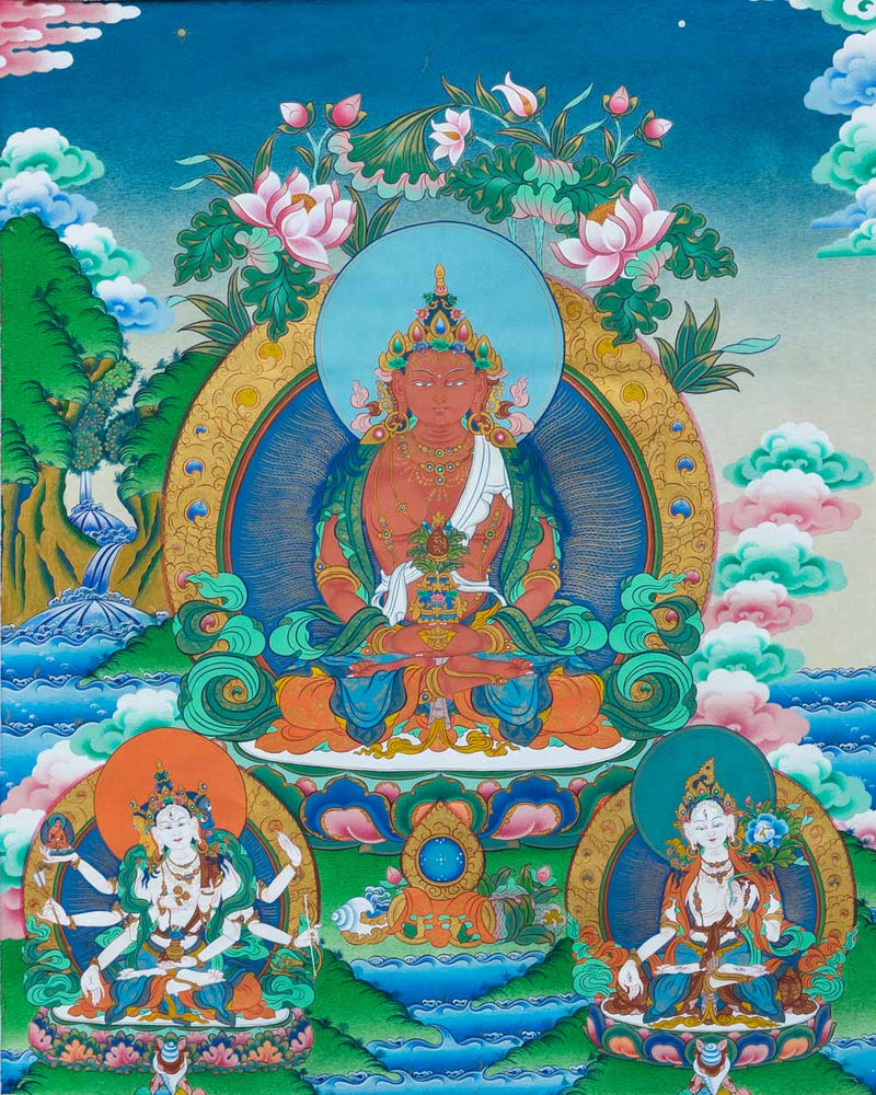 Tse Lha Nam Sum Painted Thangka