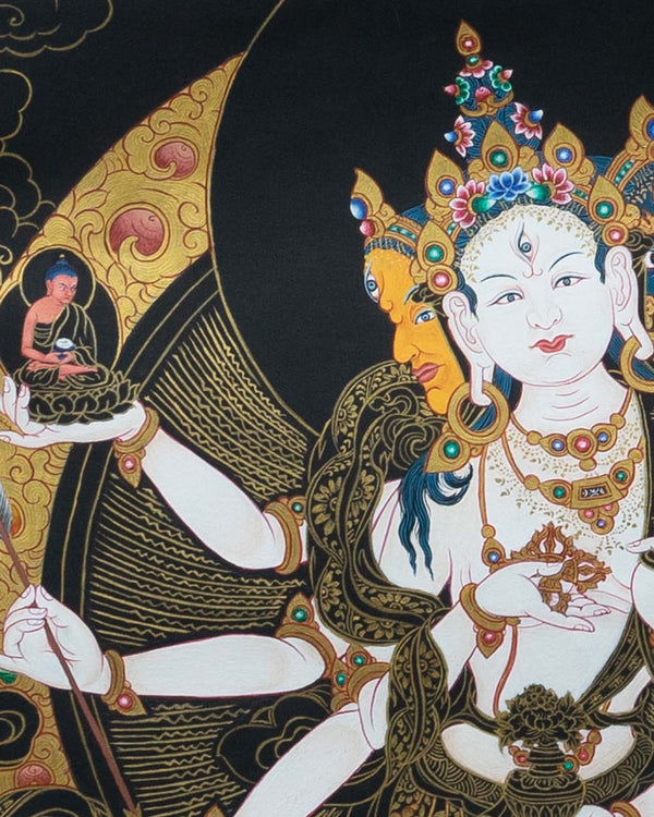Vijaya (black based) Painted Thangka