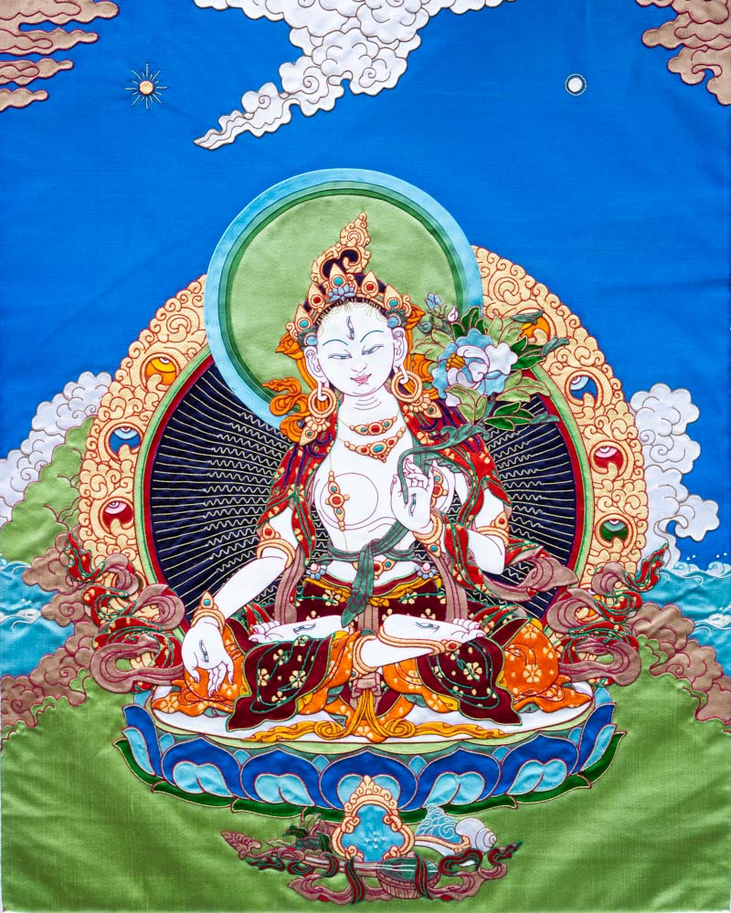 White Tara (Detailed) Applique Thangka